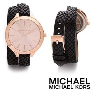 MK Snake-Embossed Leather Wraparound Runway Watch